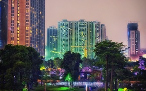 Picture city, the city, Park, street, China, building, the evening, China, park, evening, street