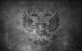 Picture surface, wall, b/W, coat of arms, Russia, double-headed eagle