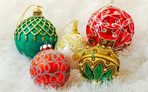 Picture decoration, holiday, balls, toys, New Year, green, Christmas, red, the scenery, white, Christmas, gold, New …