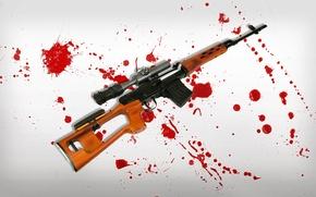 Picture background, blood, spot, SVD, rifle, sniper, sniper, Dragunov