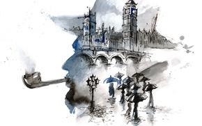 Picture bridge, people, rain, London, umbrellas, painting, Big Ben