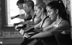 Picture fitness, white and black, exercise classes