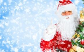 Wallpaper snowflakes, smiling Santa, Christmas Tree, tree, New Year, New year, Christmas, Santa Claus, Santa Claus