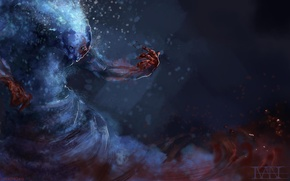 Picture water, blood, art, Morphling, Dota 2, elemental