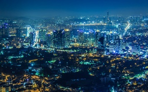 Picture night, the city, lights, view, home, panorama, skyscrapers, Seoul, South Korea