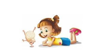 Picture mood, art, friendship, girl, hedgehog, children's