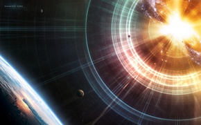Picture Stars, The explosion, Light, Earth, Planet, Planets, Stars, Space, Earth