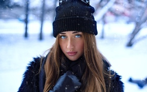 Picture winter, look, girl, snow, trees, background, hat, portrait, makeup, hairstyle, gloves, coat, brown hair, in …