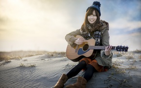 Picture girl, music, guitar, Asian
