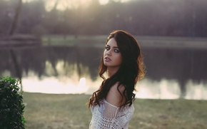 Picture look, girl, face, lake, Park, mesh, sweetheart, model, portrait, Mike, brunette, the beauty, blue-eyed, beauty, …