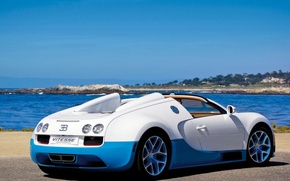 Picture sea, auto, machine, blue, nature, sport, Bugatti Veyron, Kar, white, grand sport vitesse