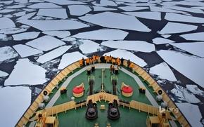 Picture ice, sea, ship, icebreaker