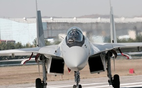Picture the airfield, su-35, before takeoff