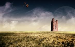 Wallpaper balloon, horizon, planet, field, castle
