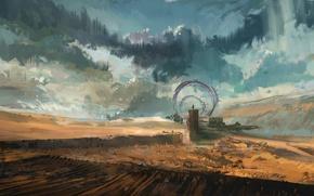 Picture the sky, clouds, landscape, fiction, desert, people, gate, art, the gates