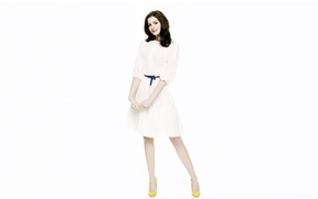 Picture background, actress, face, legs, beauty, hair, girl, Anne Hathaway, Anne Hathaway, dress