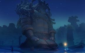 Wallpaper warrior, tomythao, Ether Saga Online, night