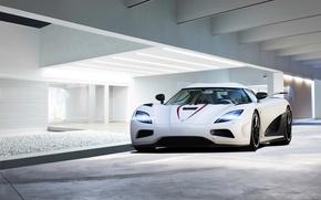 Picture white, glare, the building, Koenigsegg, white, front, Agera R, koenigseg
