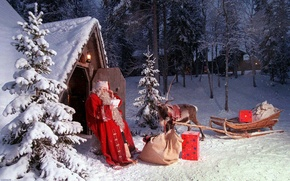 Picture winter, new year, Christmas, deer, Santa Claus