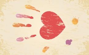 Wallpaper palm, valentines day, Valentine's day, imprint, blot, heart, Valentine's day