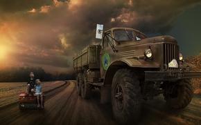 Wallpaper truck, road, children