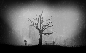Picture grass, tree, the game, grass, game, tree, limbo, black and white, lonely, lonely, city ruins, ...