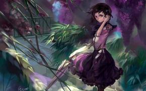 Picture flowers, branches, the wind, foliage, umbrella, girl, veranda, art, bouno satoshi