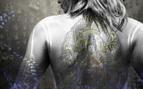 Wallpaper head, tattoo, hair, Nintendo, figure, back, lips, characters, Devils Third, Valhalla Game Studios