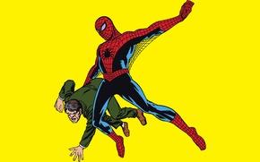 Picture yellow background, superhero, comic, Marvel Comics, Spider-Man, Peter Parker, Peter Parker, Spider-Man, Marvel