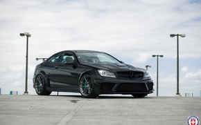 Picture Mercedes, AMG, Black, Series, C63, HRE