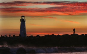 Wallpaper lighthouse, Sea, people, sunset