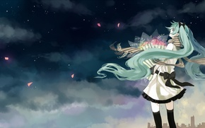 Picture the sky, girl, clouds, flowers, night, the city, home, bouquet, petals, scarf, art, vocaloid, hatsune …