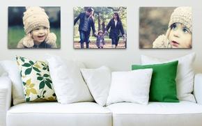 Picture children, photo, sofa, pillow, family