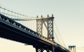 Picture new York, New York City, usa, nyc, Manhattan Bridge, Moonrise