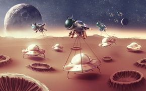 Wallpaper space, planet, UFO, cow, humor, the suit, plate, ufo, plates, kidnapping, revenge of the cows