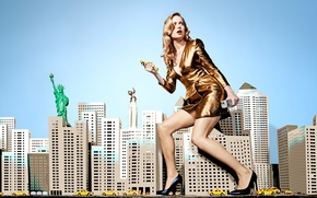 Picture the city, pose, creative, skyscrapers, makeup, figure, dress, actress, hairstyle, blonde, photographer, shoes, taxi, legs, …