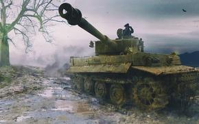 Picture war, art, painting, tank, ww2, Panzerkampfwagen VI Tiger