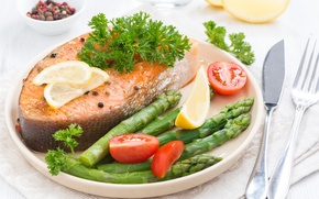 Picture salmon, fish, asparagus, vegetables
