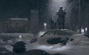 Picture winter, light, snow, night, street, dog, soldiers, lantern, car