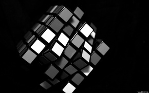 Picture white, black, Rubik's cube