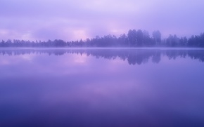 Picture The sky, Water, Clouds, Lake, Trees, Forest