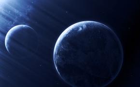 Picture dark, blue, planets, Sci FI, light effect