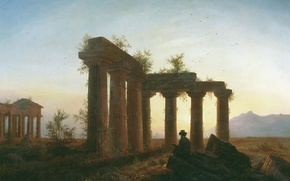 Wallpaper Greek temple, The ruins, painting, sunset, people