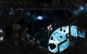Picture space, astronaut, the suit, pilot, spaceship, astronaut, ship meteorites