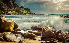 Picture wave, beach, squirt, stones, the ocean, photo, photographer, boulders, Jamie Frith