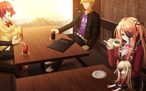 Picture bench, table, doll, art, students, eye patch, visual novel, shinigami no testament, menu, sakaki maki, …