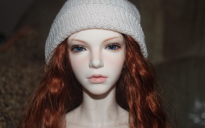 Picture hat, doll, red hair, blue eyes, doll, BJD, jointed doll