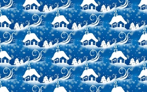 Picture winter, snow, snowflakes, background, holiday, new year, art, house, herringbone, Blizzard