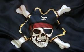 Picture hat, flag, skeleton, Jolly Roger