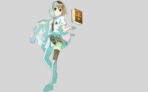Picture girl, magic, skirt, minimalism, stockings, anime, girl, book, schoolgirl, grey background, sorceress, school uniform, undresses, …